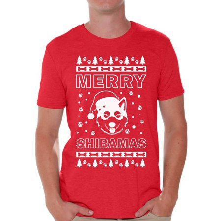 Awkward Styles Merry Shibamas Shirt Merry Shibamas Christmas Tshirts for Men Funny Shiba Inu Santa Shirt Men's Holiday Top Shiba Inu Dog Lover Xmas Gifts Funny Tacky Party Holiday Christmas - Men Christmas Outfit