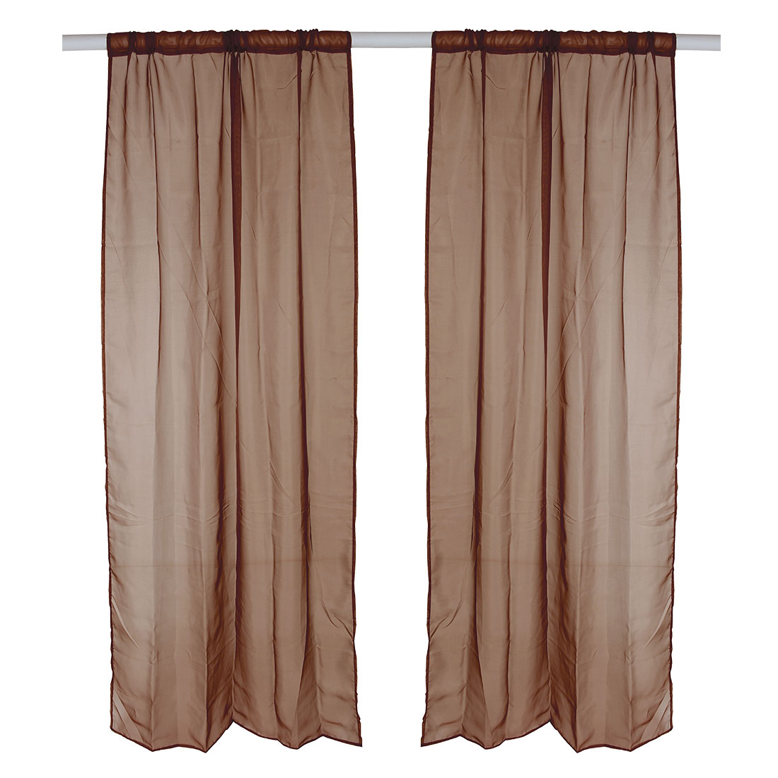 Home Polyester Background Divider Panel Window Sheer Curtain Brown 100 x 200cm
