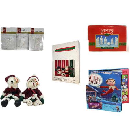 Christmas Fun Gift Bundle [5 Piece] - Brite Star Classic Trims Angel Ornament Set of 3 -  Collectable 6 Piece Nativity Porcelain 3.5