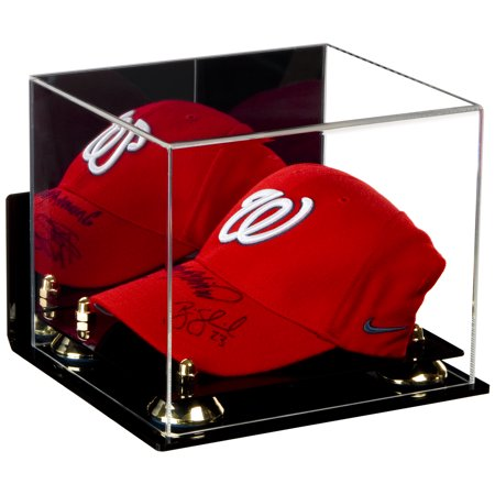 Deluxe Acrylic Baseball Cap Display Case with Gold Risers Mirror and Wall Mount (A006-GR) Acrylic Cap Display Case