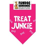 Fun Dog Bandana - TREAT JUNKIE - One Size Fits Most for Med to Lg Dogs, hot pink pet scarf
