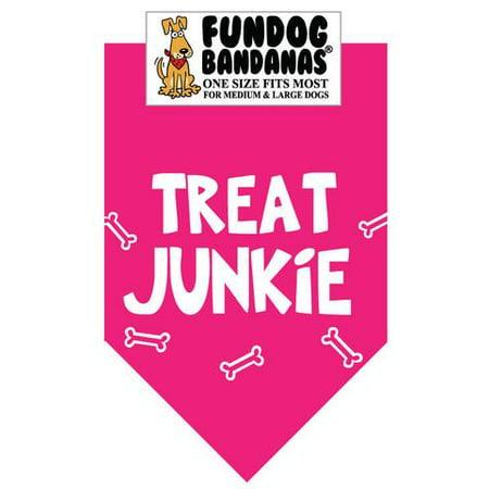 Fun Dog Bandana - TREAT JUNKIE - Taille unique pour Med à Lg Chiens, écharpe animal rose chaud