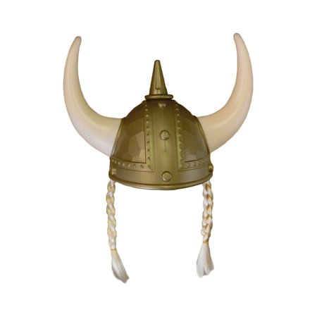 Adult Nordic Viking Helmet With Horns Braids Barbarian Warrior Costume Accessory (Costume Horn)