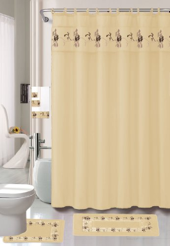 Click here to buy 22 Piece Bath Accessory Set Beige Gold Bath Rug Set + Shower Curtain & Accessories.