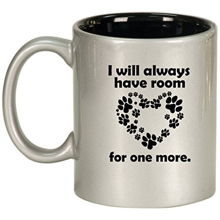 Ceramic Coffee Tea Mug Cup Room For One More Dog Cat Animal Paw Print  Silver
