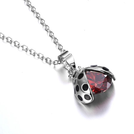Cute Insert Ladybug Beetle Crystal Charms Pendant Necklace