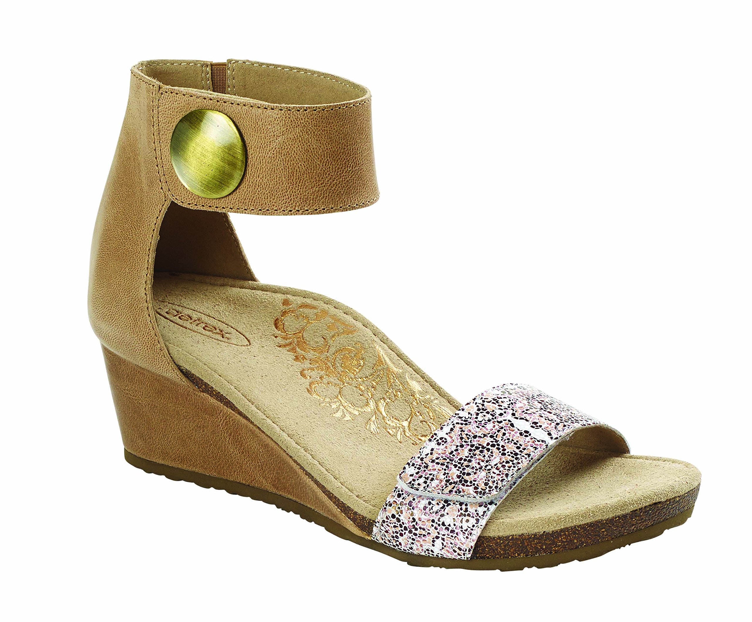 Aetrex Women's Becca Ankle Strap Wedge TAUPE PRINT W40 by Aetrex