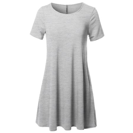 FashionOutfit Women's Solid Round Neck Short Sleeves Dress with Side Pocket