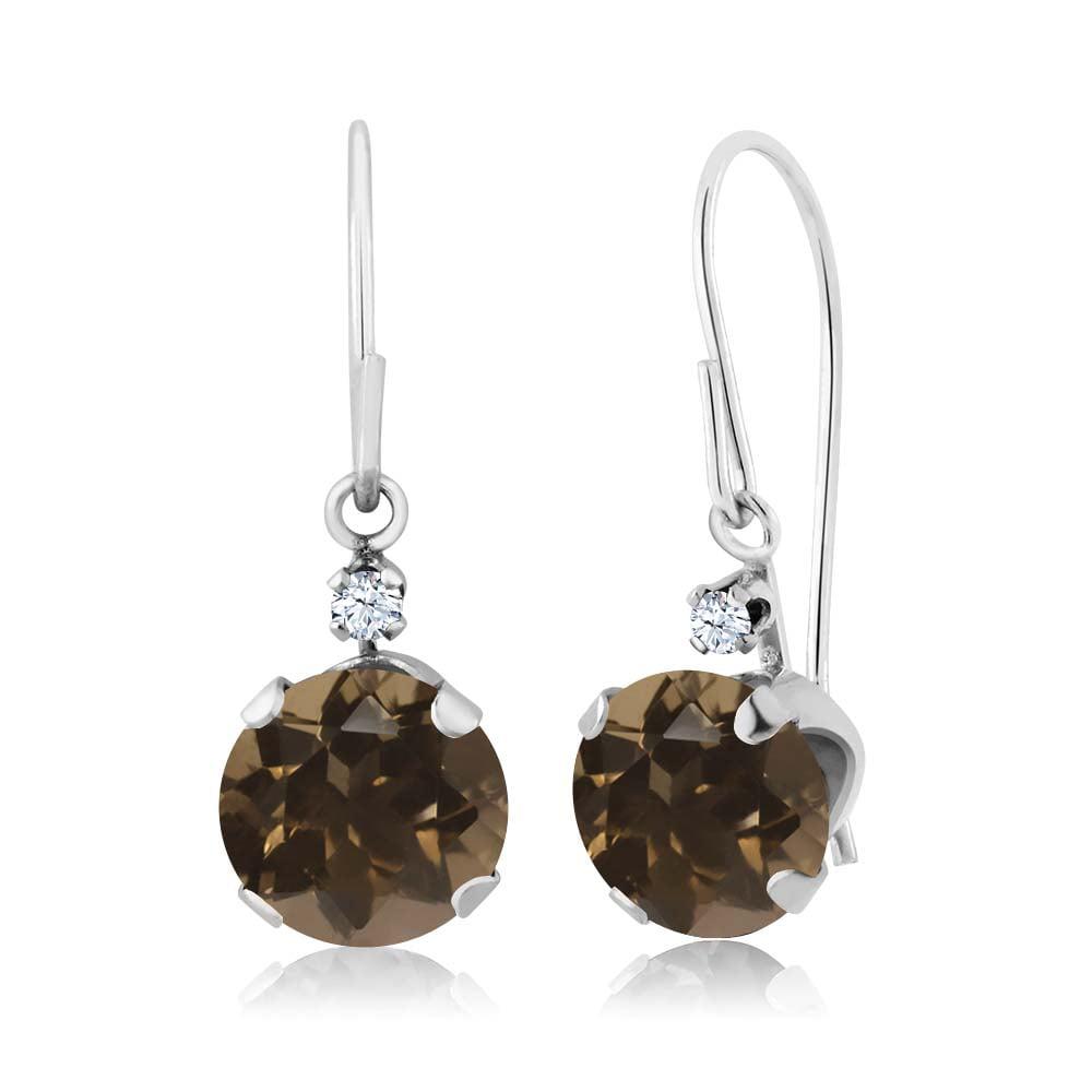 1.64 Ct Round Brown Smoky Quartz White Topaz 14K White Gold Earrings
