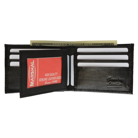 Crocodile Print Cowhide Leather Bifold Wallet with Center ID Window & Credit Card Slots 71152 CR (C) Black