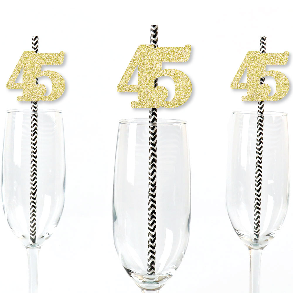Gold Glitter 45 Party Straws - No-Mess Real Gold Glitter Cut-Out Numbers & Decorative 45th Birthday Paper Straws - 24 Ct