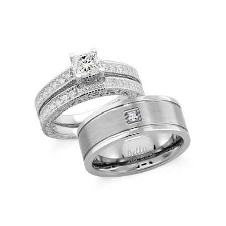 Hers And His Sterling Silver Cubic Zirconia Clic Wedding Ring Set Stainless Steel Center Brushed Cz