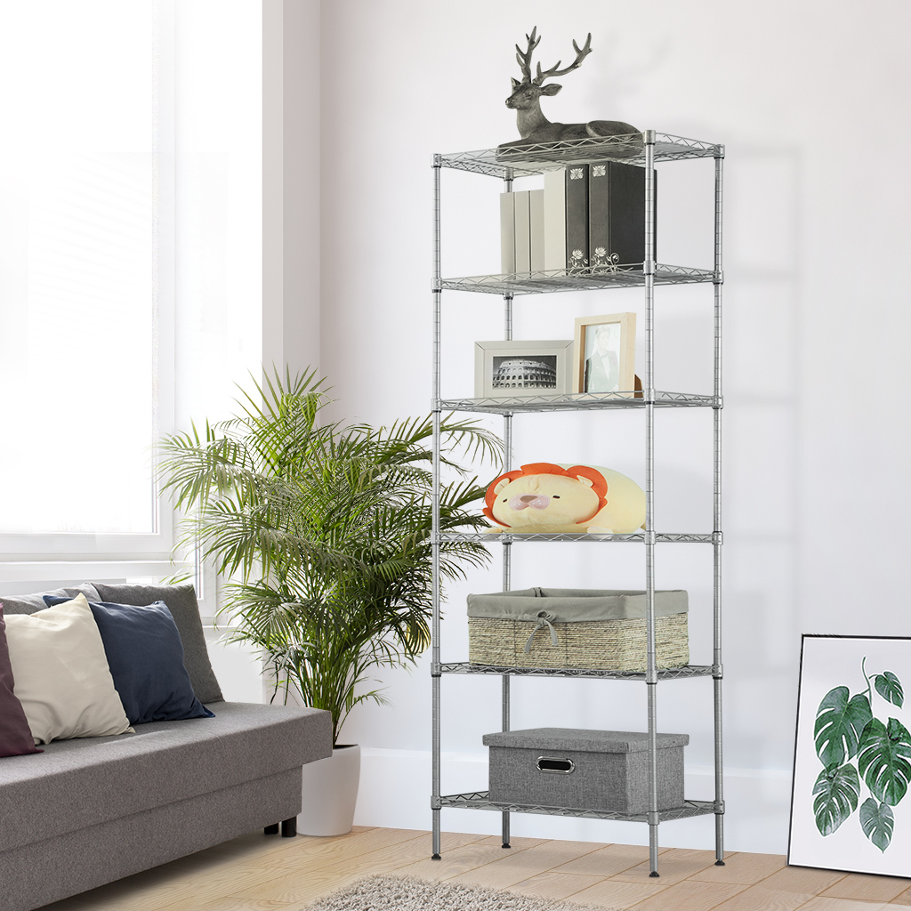 LANGRIA 5-Tier Classic Wire Storage Organization Rack Shelving Rack Shelving Unit