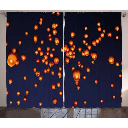 Lantern Curtains 2 Panels Set, PingXi District Festival at Night Taipei Taiwan Good Vibes Hope for Future, Window Drapes for Living Room Bedroom, 108W X 63L Inches, Night Blue Orange, by Ambesonne ()
