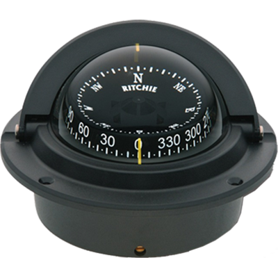 F83 Black Voyager Flush Mount Marine Power Boat Compass - Ritchie (Mount Sport Compass)