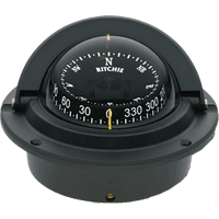 F83 Black Voyager Flush Mount Marine Power Boat Compass - Ritchie FO-3226
