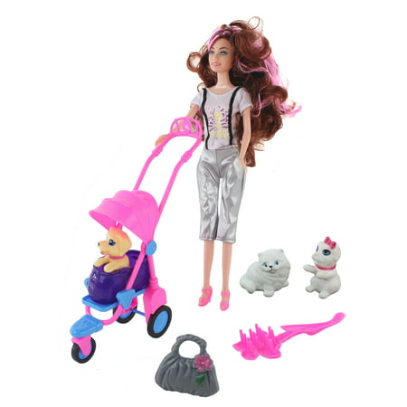 11.5'' (29cm) Top Styled Doll With Baby Pets, Fully Poseable Fashion Doll, Accessories and Pets Included! Two baby puppies, One cat and a Pet Stroller! This Doll Loves her Pets and so Will You!