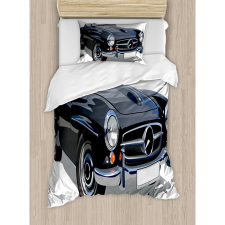 - Cars Duvet Cover Set, Classical Retro Vehicle Antique Convertible Prestige Old Fashion Revival, Decorative Bedding Set with Pillow Shams, Black Pale Grey White, by Ambesonne