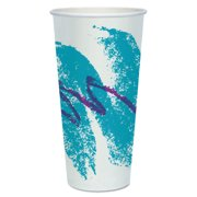 Solo Cup Company Jazz Design Double Sided Poly Paper 24 oz. Cold Cups, 20 Packs of 50, 1000 Total