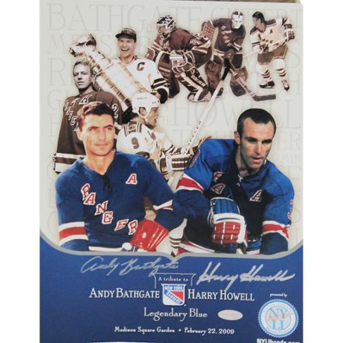 """Steiner Harry Howell & Andy Bathgate Dual Signed Tribute Timeline 13""""x9.5"""" Pamphlet"""