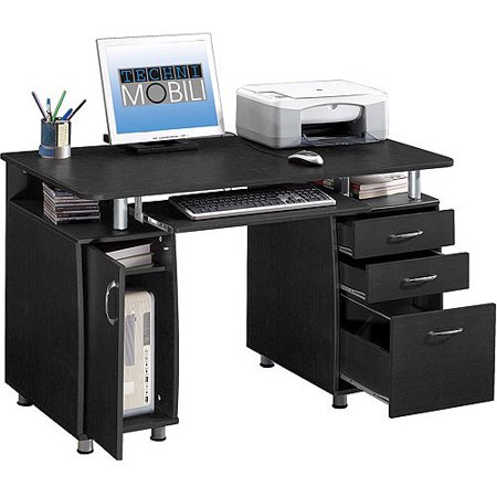 Techni mobili super storage computer desk espresso - Officemax home office furniture ...