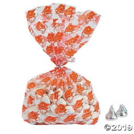 Orange Graduation Cellophane Bags