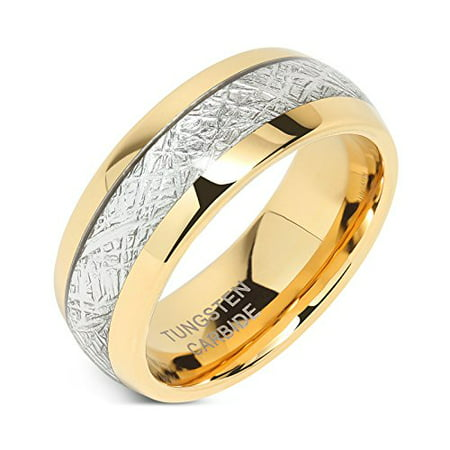8mm Mens Tungsten Carbide Ring Meteorite Inlay 14k Gold Plated Jewelry Wedding Band Size 5-16 14k Gents Wedding Band