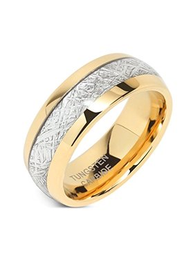 Product Image 8mm Mens Tungsten Carbide Ring Meteorite Inlay 14k Gold  Plated Jewelry Wedding Band Size 5- d1a6836beb4d