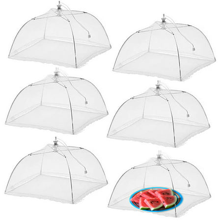 Picnic Food Covers (Simply Genius 6 Pack Pop-Up Mesh Outdoor Food Covers for Picnics, 17x17 Screen Tents Protectors For Parties, Reusable and Collapsible Dome)
