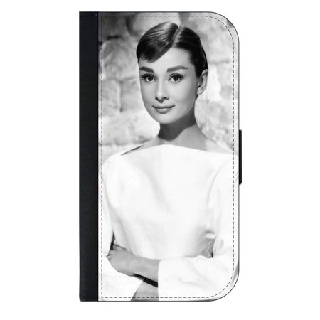 Audrey Hepburn - Wallet Style Cell Phone Case with 2 Card Slots and a Flip Cover Compatible with the Apple iPhone 7 Plus and 8 Plus Universal ()