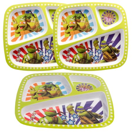 Zak! 3pk Character Plastic 3-Section Divided Kids Plates