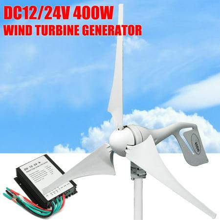 1/2X 400W Wind Turbine Generator 12-24V 3/5Blade + Charge Controller  Waterproof