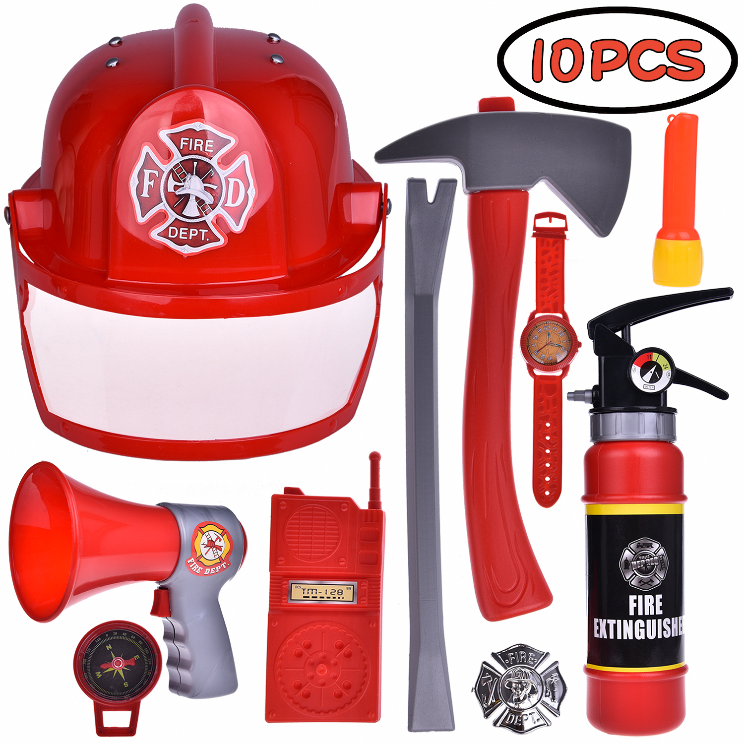 Fireman Gear Firefighter Costume Role Play Toy Set for Kids with Helmet, Megaphones, Extinguisher, Flashlight,Helmet and Accessories F-177