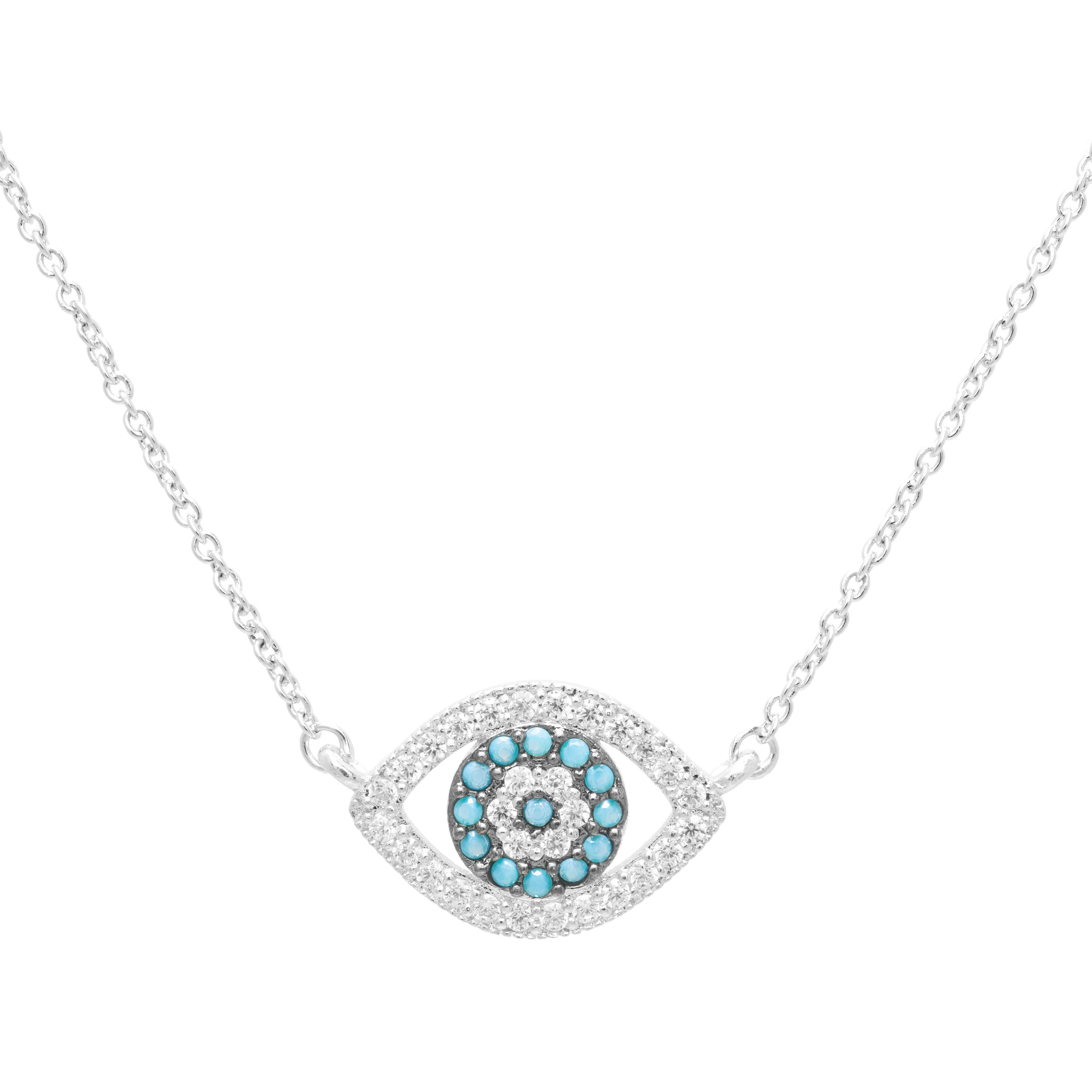 Sterling Essentials Sterling Silver Cubic Zirconia Evil Eye Necklace (16 plus 2 inch extension)