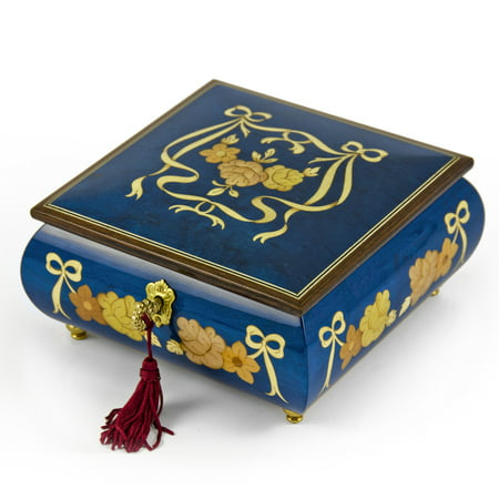 Handcrafted Radiant Blue 30 Note Roses and Ribbons Musical Jewelry Box with Lock and Key - Happy Birthday To (Happy Birthday With Musical Notes In Text)