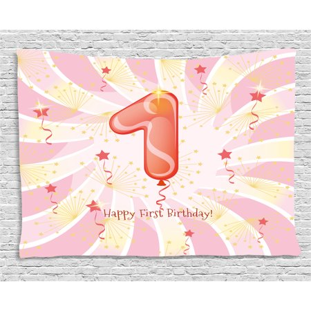 1st Birthday Decorations Tapestry, New Born Baby Festive Celebration Party Theme Image, Wall Hanging for Bedroom Living Room Dorm Decor, 80W X 60L Inches, Light Pink and White, by Ambesonne (Baby 1st Birthday Theme)