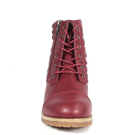 Carrini CA Collection Women's Fashion Quilted Zipper Lace-Up Boots