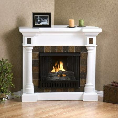 Kentshire Gel Fuel Fireplace Convertible White W Slate