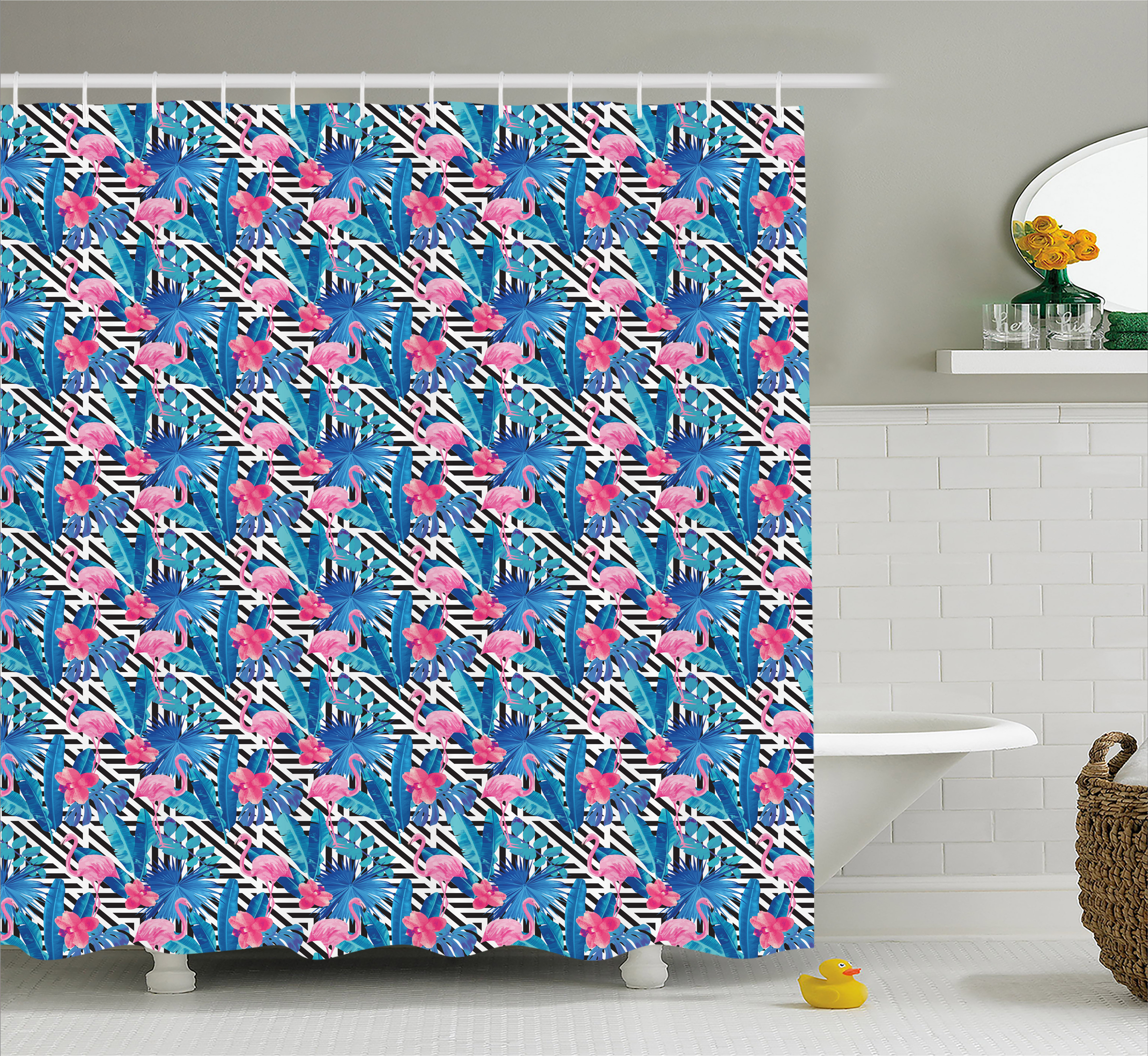 Banana Leaf Shower Curtain, Watercolor Tropic Pink Flamingos and Orchid with Blue Floral Plant Jungle Palm, Fabric Bathroom Set with Hooks, 69W X 84L Inches Extra Long, Multicolor, by Ambesonne