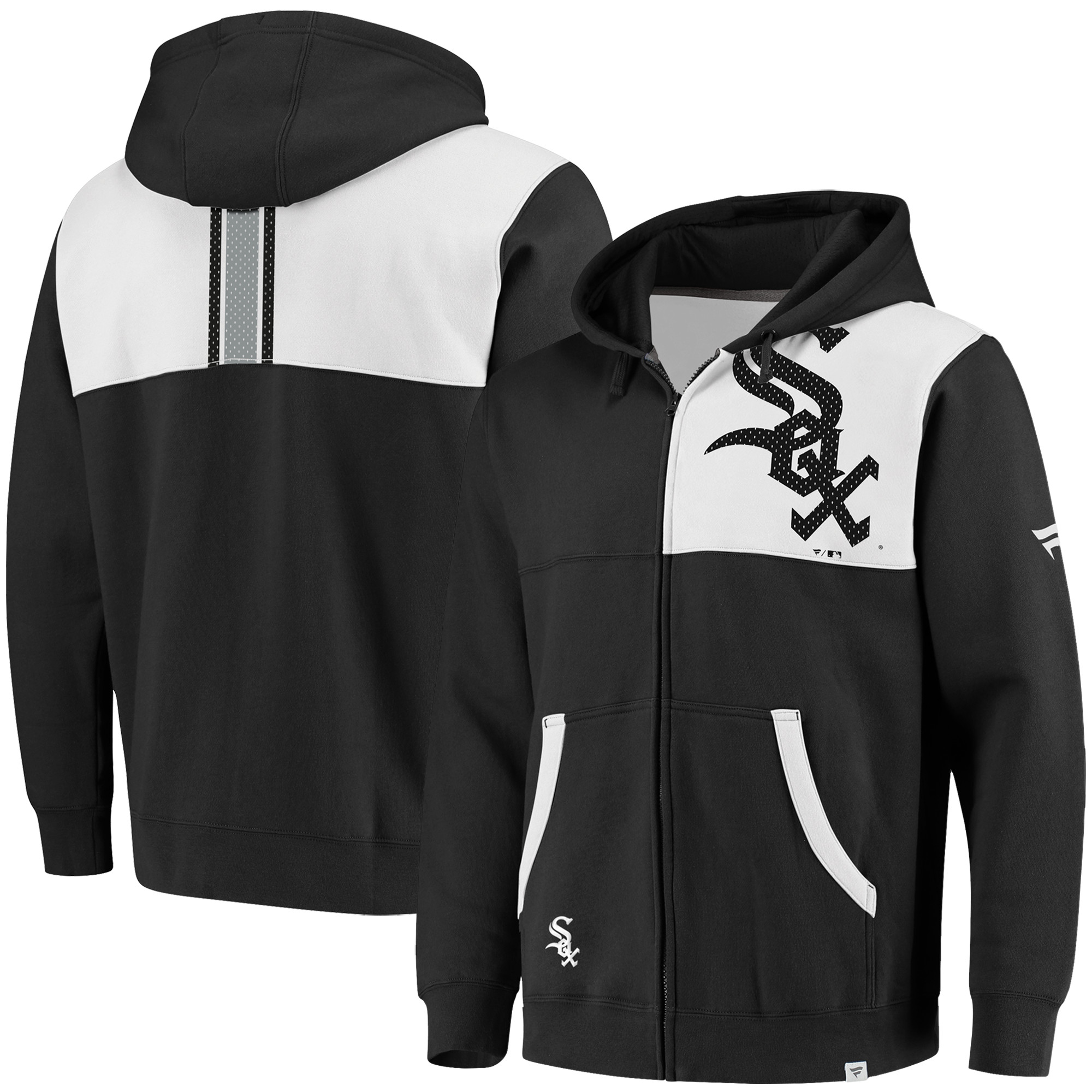 Chicago White Sox Fanatics Branded Iconic Bold Full-Zip Hoodie - Black/White
