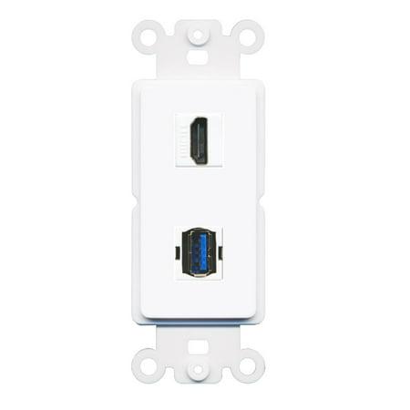 RiteAV HDMI USB 3.0 A-A Wall Plate Insert White (Hdmi Wall Plate Insert)
