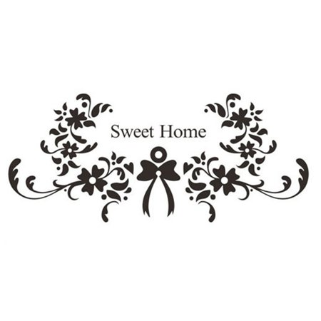 Sweet Home Family Quote Wall Sticker Romantic Flowers Letters Wall Decals Wall Art Decoration for Living Room Bedroom Home Decor](Halloween Romantic Quotes)