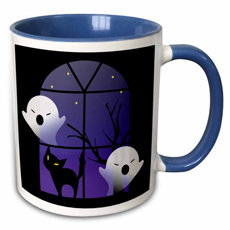 3dRose Halloween Ghosts and Cat in House - Two Tone Blue Mug, 11-ounce - Cat Face Halloween Tumblr