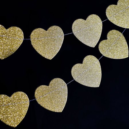 Glitter Banner (Quasimoon Gold Glitter Heart Shaped Paper Garland Banner (10FT) by)