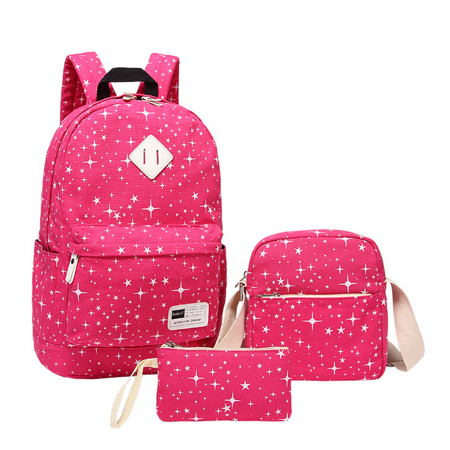 a5b74a31f Girl Backpack Canvas Student Bookbag Girls School Backpack Set 3 Pcs With  Bonus Gift (Hot Pink)