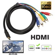 HDMI to RCA Cable 1080P Converter, TSV 5FT HDMI Male to 5 RCA Video Audio AV Converter Adapter Cable For HDTV and YPbPr TV - One-Way Transmission from HDMI to RCA