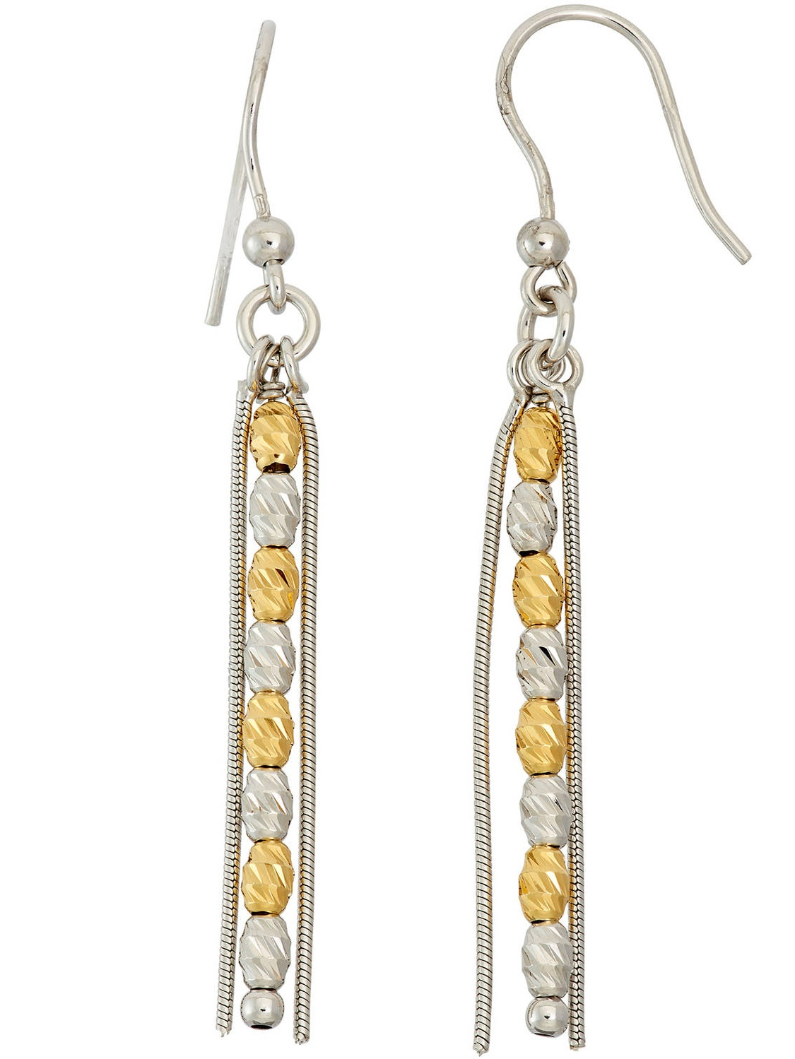 14kt Gold- and Rhodium-Plated Sterling Silver DC Beads and Strands Earrings