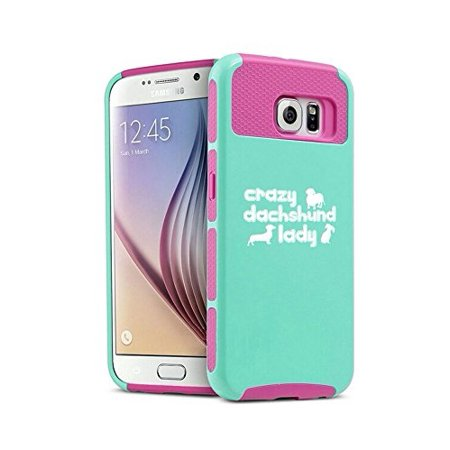 Samsung Galaxy S7 Edge Shockproof Impact Hard Case Cover Crazy Dachshund Lady (Teal-Hot Pink),MIP