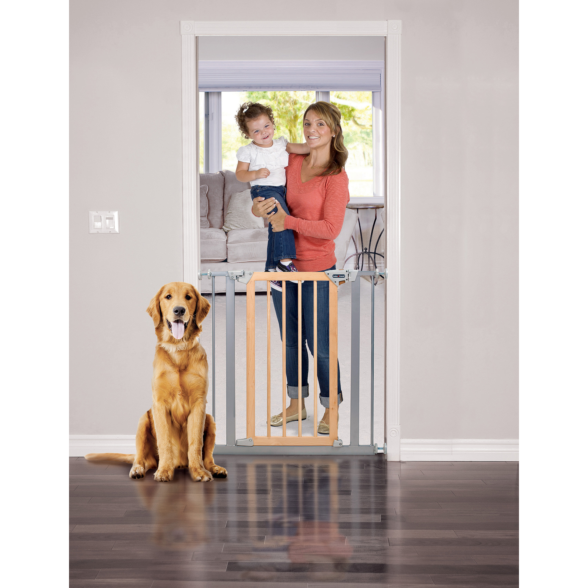 Baby Trend Pressure Fit Wood & Metal Safety Gate, Light Hardwood