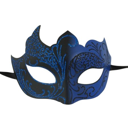 Mardi Gras Masks For Men (Dark Blue Black Unique Venetian Mask Masquerade Mardi)